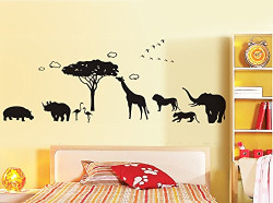 Decals Design 'Africa Jungle Safari Silhouette' Wall Sticker (PVC Vinyl, 60 cm x 90 cm, Black)