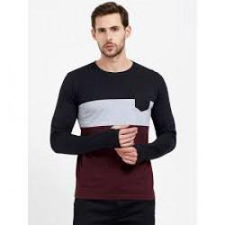 Maniac Men Black Colourblocked Round Neck T-shirt