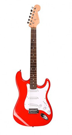 Juarez JRZ-ST01 6-String Electric Guitar, Right Handed, Red, with Case/Bag and Picks