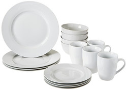 AmazonBasics 16-Piece Dinnerware Set, Round - White