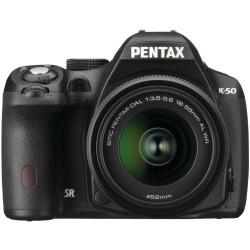 Pentax K-50 16 MP Digital SLR Camera Kit with DAL 18-55 mm WR f/3.5-5.6 and 50-200 mm WR Lenses (Black) with Sandisk 8 GB card