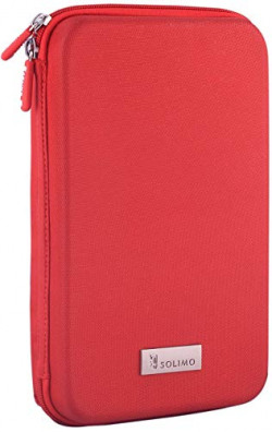 Amazon Brand - Solimo Travel Case for Small Electronics and Accessories (Red)