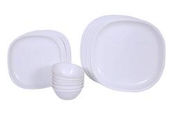 Signoraware Square Dinner Set, 24-Pieces, White