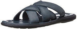 Louis Philippe Men's Navy Leather Sandals and Floaters