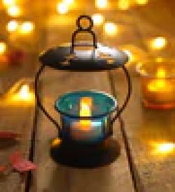 Blue Metal & Glass Tea Light Holder by Heaven Decor