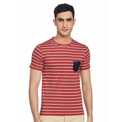Fort Collins Men's Striped Regular fit T-Shirt (OL11190_Rust M)