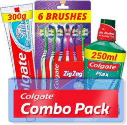 Colgate Active Salt Combo 6 Brushes, Mouthwash, Toothpaste(3 Items in the set)