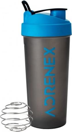 Adrenex by Flipkart BPA Free Gym Bottle with Mixer Ball 700 ml Shaker(Pack of 1, Blue, Grey)