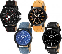 Foxter Perfect Multicolor Leather Strap Combo Pack of 4 Analog Watch  - For Boys