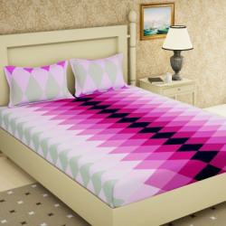 Story@Home 120 TC Cotton Double Checkered Bedsheet(Pack of 1, Pink)