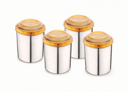Classic Essentials 4 Pcs Canister Set withOrange Lids  - 2200 ml, 1500 ml, 850 ml, 650 ml Steel Tea Coffee & Sugar Container(Pack of 4, Orange, Silver)