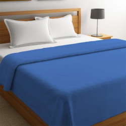 STELLAR HOME Solid Double Fleece Blanket(Polyester, Blue Shadow)