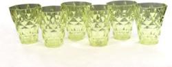 MR Products (Pack of 6) Diamond Green Glass Set(250 ml, Plastic)