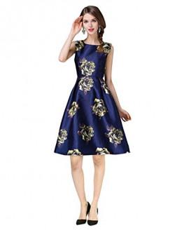 Pop Mantra Satin a-line Dress (30059_Navy Blue_S)