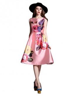Pop Mantra Satin a-line Dress (30063_Pink_L)