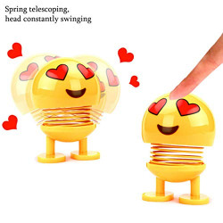 WebelKart® 2 PCS Cute Emoji Bobble Head Dolls, Funny Smiley Face Springs Dancing Toys for Car Dashboard Ornaments, Party Favors, Gifts, Home Decorations