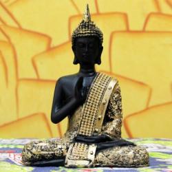 Craft Junction Beautiful Black Golden Blessing Buddha Decorative Showpiece  -  20 cm(Polyresin, Multicolor)