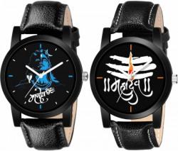 FOXTER Combo Of 2 Mahadev Mahakal Multicolor Dial Black Leather Strap Stylish Analog Watch  - For Men