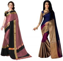 GoSriKi cotton with blouse piece Saree (Pack of 2)