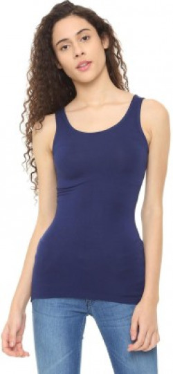 People Casual Sleeveless Solid Women Blue Top