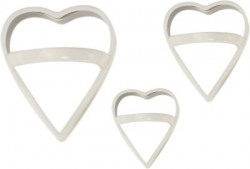 ZEVORA White Silicon Steel Heart Shaped Cookie Cutter, Chocolate, Pastry, Pudding, Cake Cutter (Set of 3) with Handle Cookie Cutter(Pack of 3)