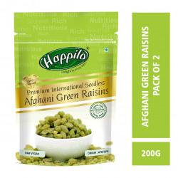 Happilo Premium 100% Natural Afghani Green Raisins, 200g (Pack of 2)
