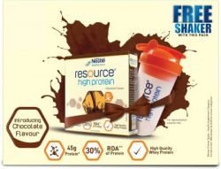 Nestle Resource High Protein with free shaker Whey Protein(400 g, Chocolate)