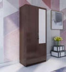 Two Door Wardrobe With Mirror in Walnut Finish