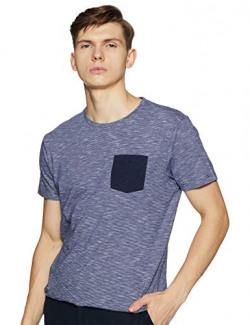 Lee X-Line Men's Printed Slim fit T-Shirt (L41363CB0XLN_Jsw-Blue Slub Stripe M)
