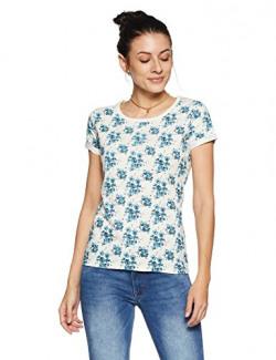 Flying Machine Women's Animal Print Regular Fit T-Shirt (FWTS1286_Marshmallow_XS HS)