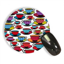 RADANYA Multicolor Tea Cup And Saucer Mousepads Waterproof Foldable Mouse Pad with Nonslip Base for Laptop & Desktop Mouse Round 8'' Mousepad(Multicolor)