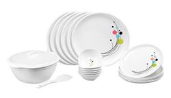 Signoraware Design-6 Plastic Round Dinner Set, 21-Pieces, White