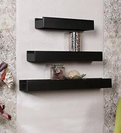 Home Sparkle Set of 3 Wall Shelves Engineered Wood (Black)