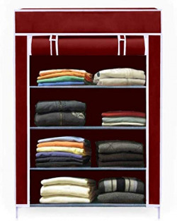 Aysis Collapsible Wardrobe Organizer, Storage Rack for Kids and Women, Clothes Cabinet, Bedroom Organiser with 4 Layer_Maroon