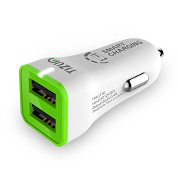 Tizum Worldwide Compatible Smart Charging 3.4 Amp 2 USB Port Car Charger for iOS, Android (White)
