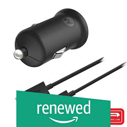 (Renewed) Motorola Turbo Power 18W Qualcomm 3.0 Quick Charge Car Charger with Micro USB Cable(Black)