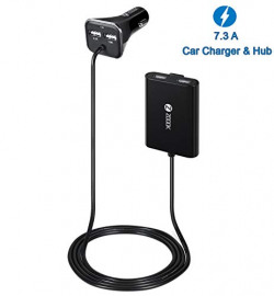 Zoook Roadster 4 Port Hi-Speed USB Car Charger & Extension Hub with 6 Feet (1.8 Meter) Cable & Back Seat Clip