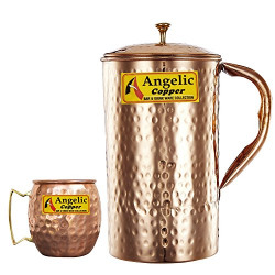 Angelic Copper Handmade Jug with Cup, Brown