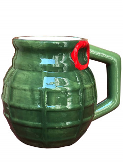 Saanveria Grenade Shape Coffee Mug Birthday Gift for Brother Niece Nephew Sister Quirky Gifts for Friends Relatives Husband Return Gifts for Birthday Part Mug (Green)