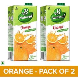 B Natural Orange Juice, 1L (Pack of 2)