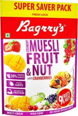 Bagrry's Crunchy Muesli Fruit and Nut with Cranberries(750 g, Pouch)