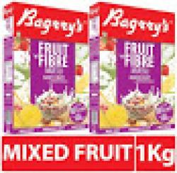 Bagrry's Fruit N Fibre Muesli, Mixed Fruit - 500 g Box (Pack of 2)