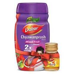 Dabur Chyawanprash Mixed Fruit 2X Immunity - 1 kg with Dabur Honey 100 g Free