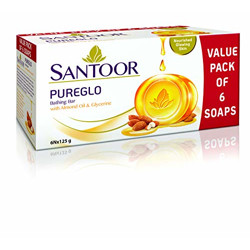 Santoor PureGlo Glycerine Bath Soap with Almond Oil for moisturized, nourished and shining Skin, Combo Offer 125g Pack of 6