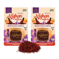 Ayoub Khan's Afghan Organic Saffron Organically Grown Afghani Kesar (1 Gram x 2)