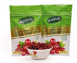 HappiloPremium Californian Sliced Dried and Sweet Cranberries, 200g (Pack of 2)