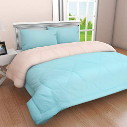 Clasiko Reversible Double Bed King Size Comforter/Duvet for Summers/Ac; Color - Ablaze Aqua & Pretty Peach; Fabric - Micro Cotton; 300 GSM; Size - 230x254 Cms; Color Fastness Guarantee