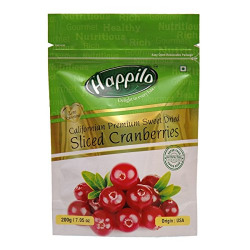 HappiloPremium Californian Sliced Dried and Sweet Cranberries, 200g (Pack of 5)