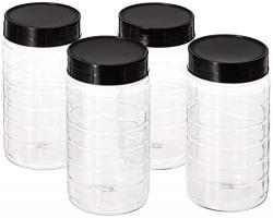 Amazon Brand - Solimo Spice Jar, 200 ml, Set of 4, Black