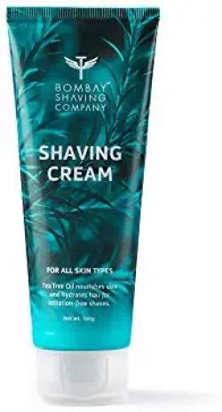 Bombay Shaving Company Shaving Cream with Tea Tree oil, Aloe Vera and Menthol Extracts- 100 g